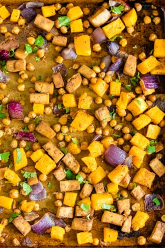 Vegetarian Sheet Pan Dinner with Tofu, Chickpeas and Butternut Squash