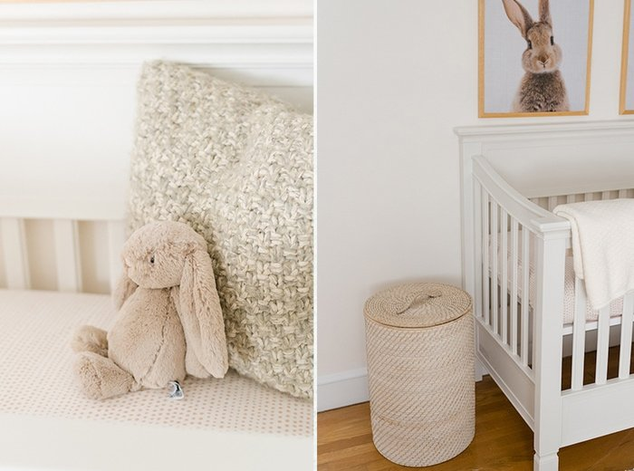 Bunny stuffed animal in crib + bunny print over crib.