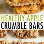 Apple crumbles bars in a stack and laid out on a table.