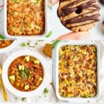 """10 Healthy Meals to Make for New Moms"" with photos of casseroles, desserts, and chili."