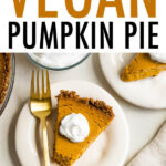 Slices of vegan pumpkin pie with whipped topping.