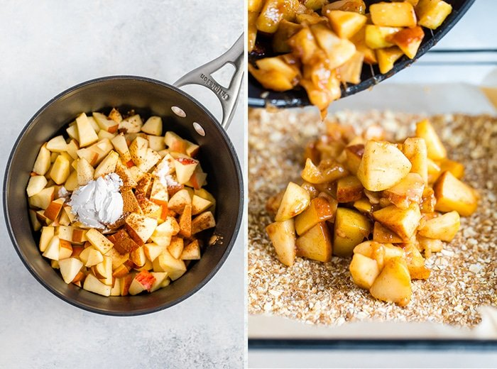 A picture of a pot with chopped apples and cinnamon to make an apple filling. Second photo is of the cooked apples being poured onto a crust in a glass baking dish.