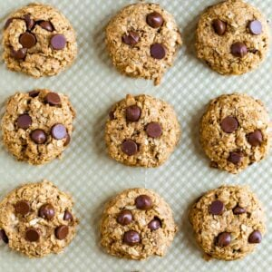 Baking sheet with chocolate chip lactation cookies.