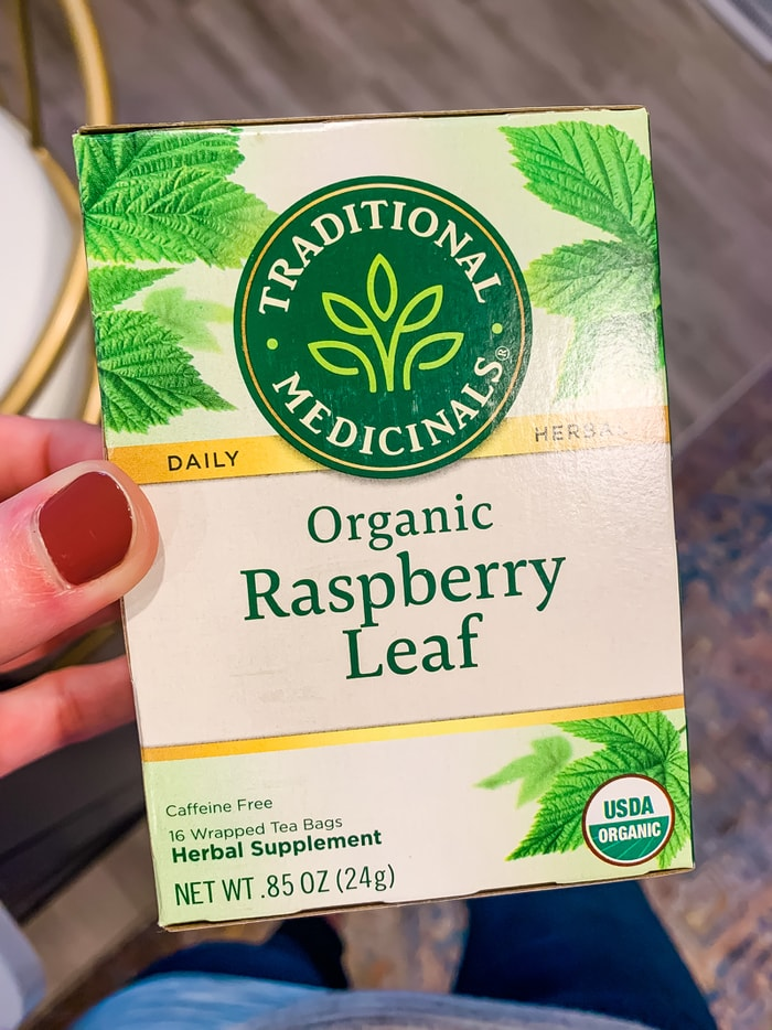 A box of Traditional Medicinals organic raspberry leaf tea.