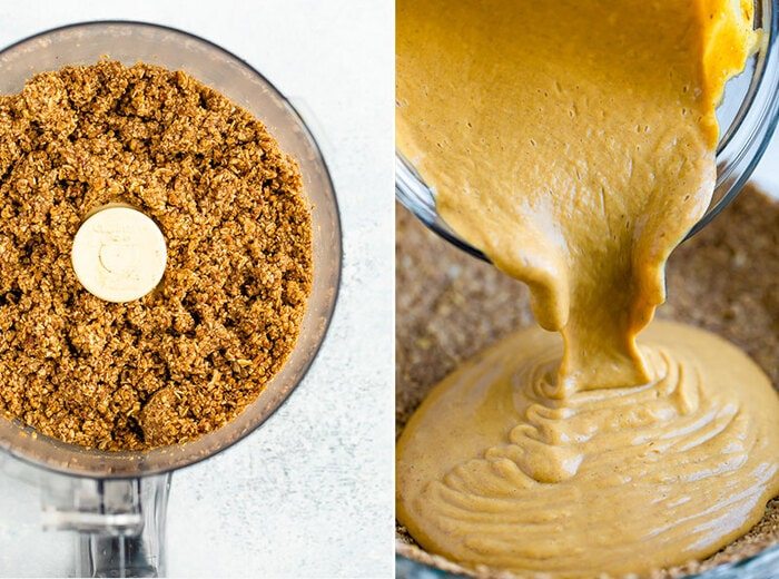 Image of crust for the vegan pumpkin pie in a food processor, image of blender pouring the pumpkin pie mixture into the pie pan and crust.