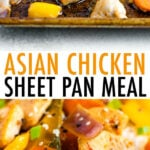 Asian chicken sheet pan meal. Asian chicken and veggies served over rice.