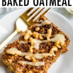 Slice of gingerbread baked oatmeal with a drizzle of frosting.