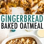 Gingerbread baked oatmeal in a dish and served on a plate with frosting.