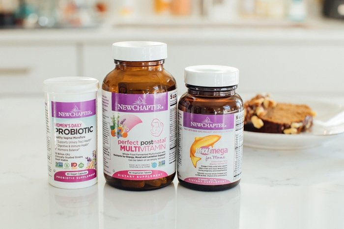 NewChapter postnatal vitamins on a counter.