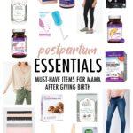 Collage of postpartum essential items.