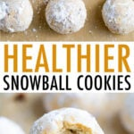 Snowball cookies on parchment paper and stacked with a bite taken out of them.