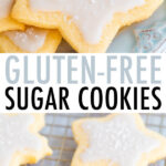 Cut-out sugar cookies shaped as stars and snowflakes with white icing and sprinkles.