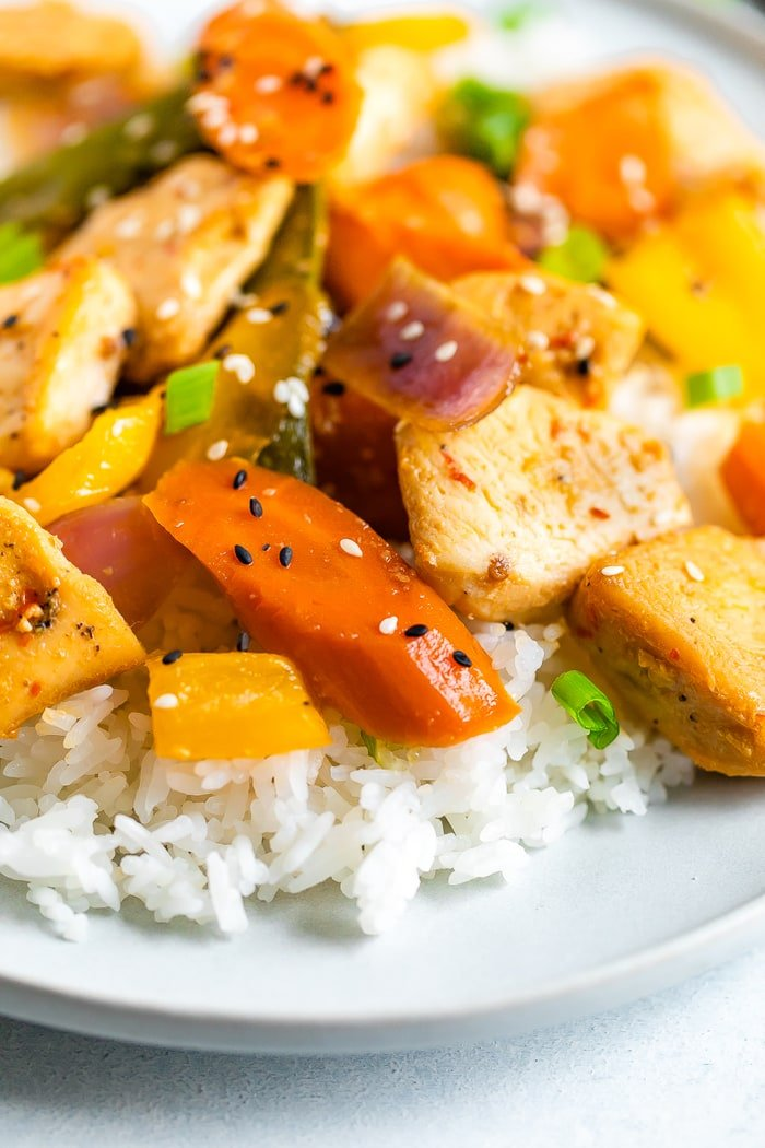 Asian chicken and veggies served over rice.