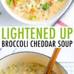 Bowl of broccoli cheddar soup and a dutch oven with broccoli cheddar soup.