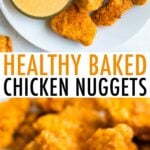 Plate of healthy baked chicken nuggets with chick-fil-a sauce.