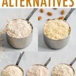 Photos of flour alternatives in measuring cups.