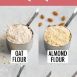 Photos of healthy flour alternatives in measuring cups with labels underneath of the type of flour that they are.