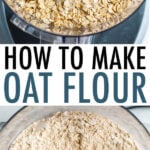 Rolled oats in a food processor, and blended oats made into oat flour in a food processor.