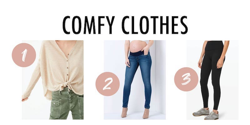 Three comfy clothes options for postpartum wearing.