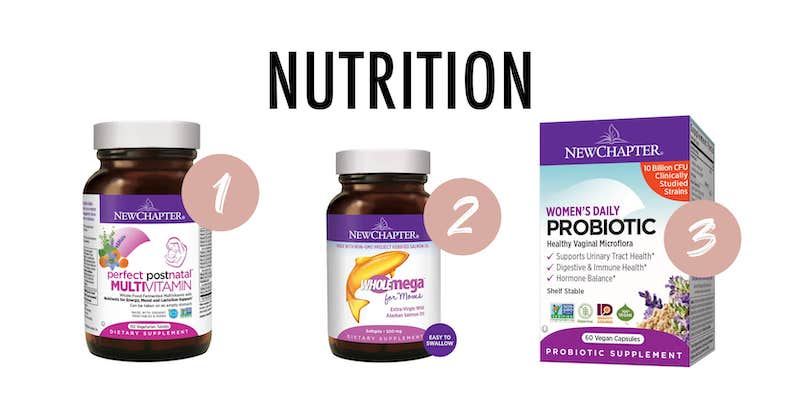 The examples of NewChapter postpartum vitamins with nutrition written above.