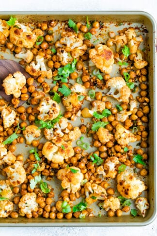 Sriracha Cauliflower and Chickpea Sheet Pan Meal