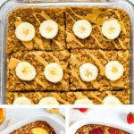 Collage of three photos of healthy baked oatmeals.