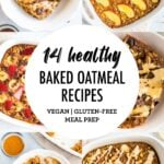 Collage of baked oatmeal photos.