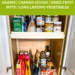 Pantry stocked with healthy canned goods, vegetables and grains.