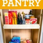 Pantry stocked with healthy pantry items like vegetables and canned goods.
