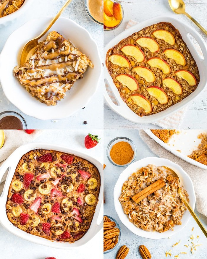 Grid of four examples of oatmeal bakes, samoa in upper left, peach in upper right, pecan cinnamon in bottom right, strawberry banana chocolate chips in bottom left.