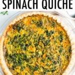 Spinach quiche in a crust.
