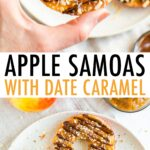 Hand holding an apple samoa, and four apple samoas on a plate. Slices of apples topped with caramel, chocolate and coconut.