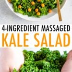 Bowl of kale salad with avocado and chickpeas and a photo of hands massaging kale.