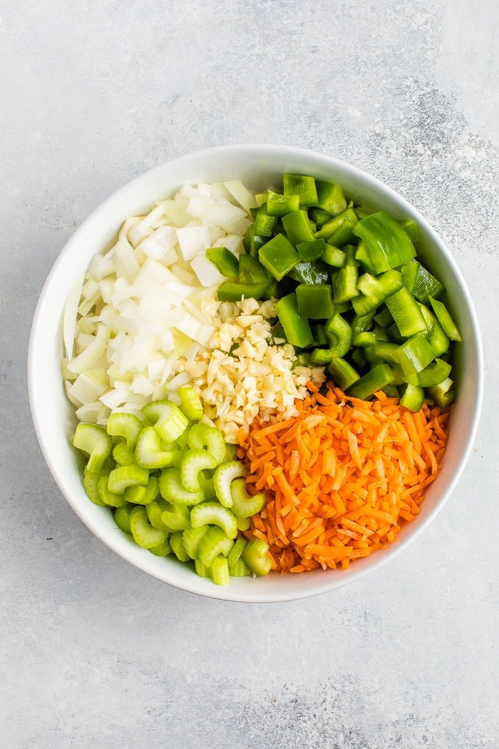 Veggies chopped up in a bowl.