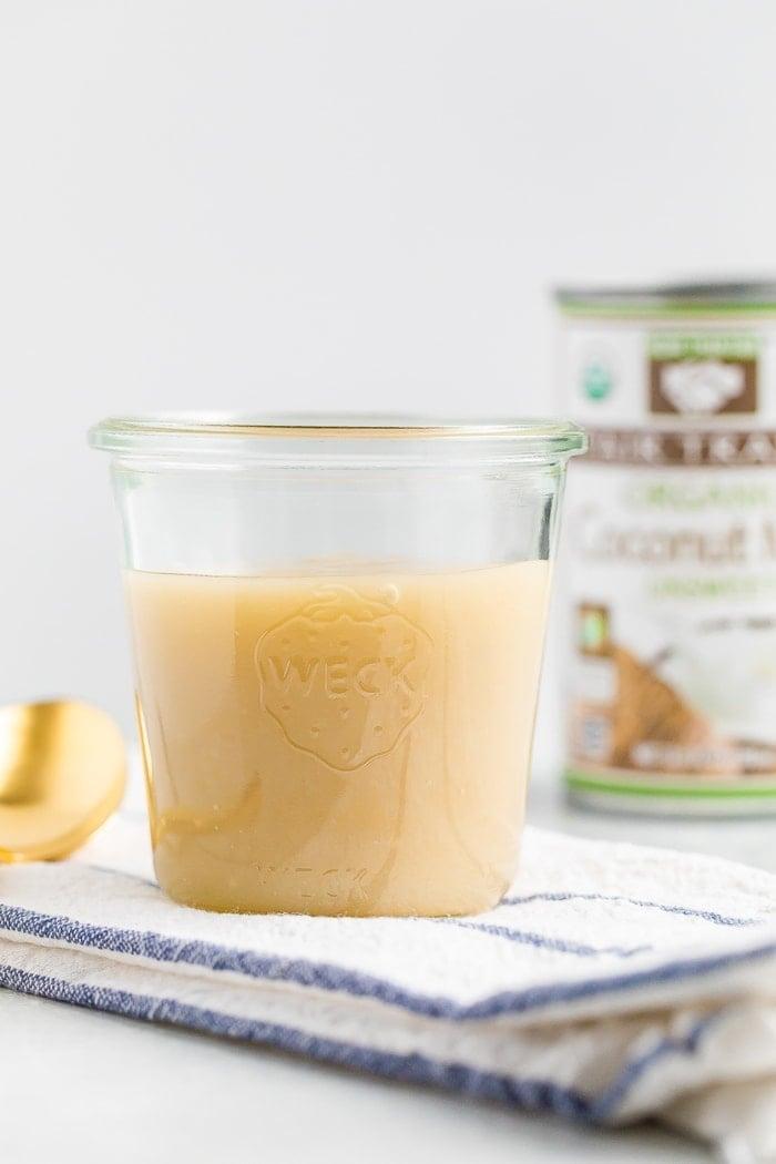 Jar of sweetened condensed coconut milk
