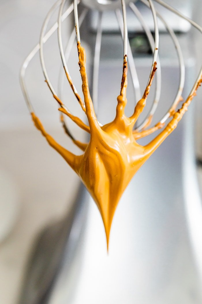Whisk on a Kitchen Aid with a whipped coffee.