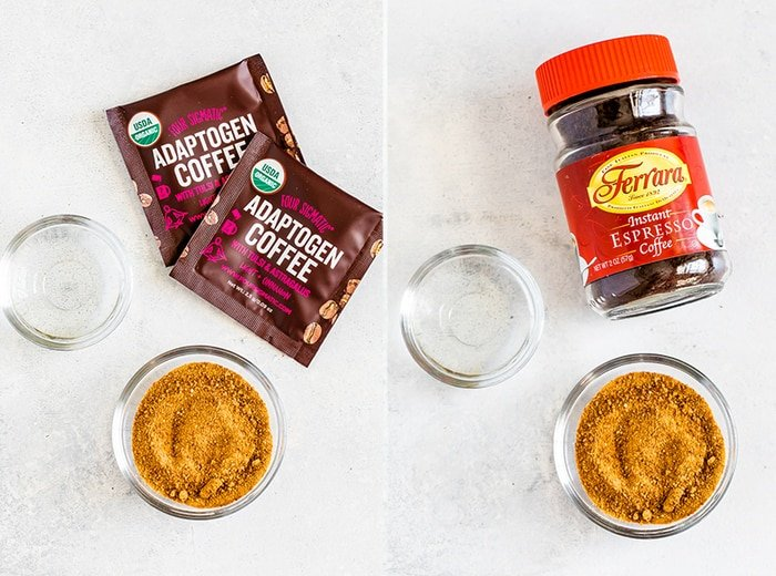 Two images of ingredients for dalgona coffee: water, coconut sugar and adaptogen coffee packets, and water, coconut sugar and instant espresso.