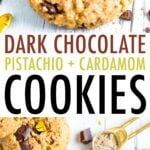 Cookies with chunks of dark chocolate and pistachios.