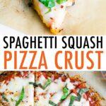 Slice of spaghetti squash pizza and a whole pizza pie cut into 8 slices.