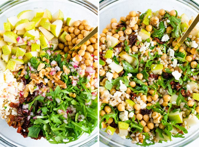 Side my side photos of salad ingredients in a bowl before and after being mixed. Ingredients include cheese, dried tomatoes, arugula, barley, chickpeas, pears, walnuts and onion.