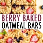 Oatmeal bars made with strawberries and blueberries.