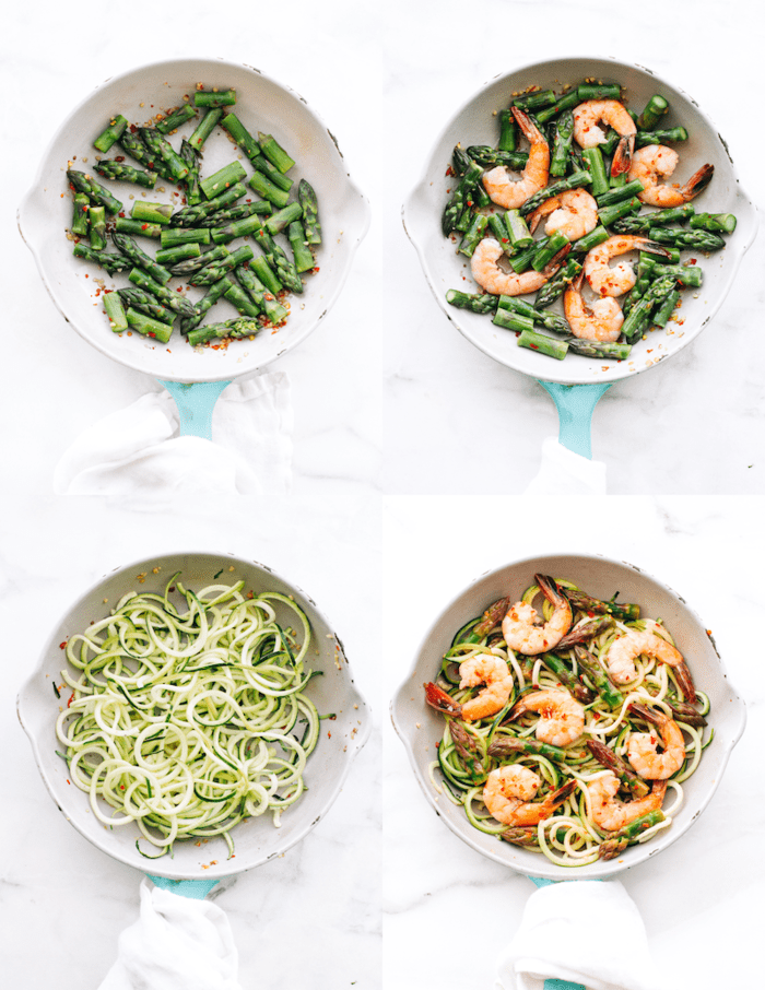 Collage with four images of a pan, the first one with sautéed asparagus, the next one with shrimp added, the next one with zucchini noodles and then a final one with all the ingredients together.