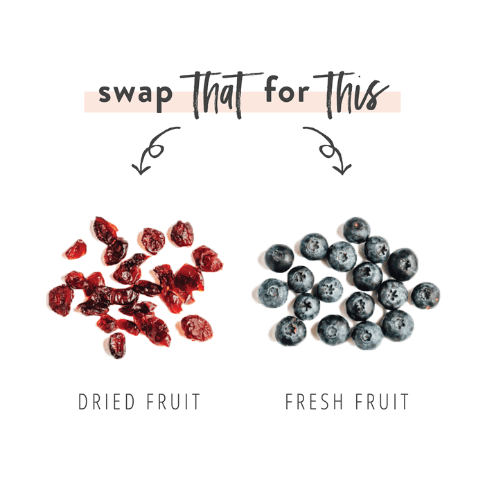Graphic swapping dried fruit for fresh fruit as a healthier salad topping option.