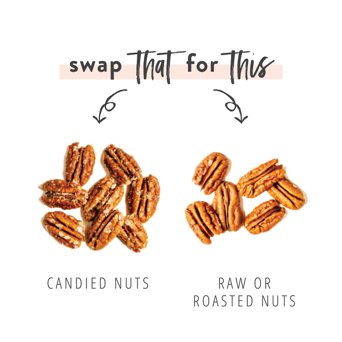 Graphic swapping candied nuts for raw or roasted nuts as a healthy salad topping option.