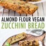 Loaf of chocolate chip zucchini bread cut into slices.