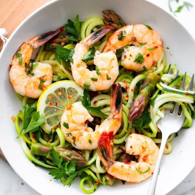 Garlic Shrimp and Asparagus with Zucchini Noodles
