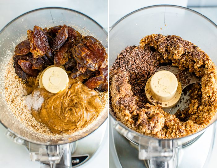 Side by side photos of food processors. The first is of the ingredients to make no bake almond cookies (almond butter, dates, almonds) and the second photo is of all the ingredients blended up.