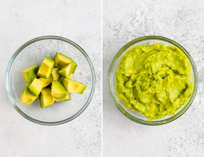 Side by side photos. The first is of a bowl of avocado chunks. The second photo is of mashed avocado.