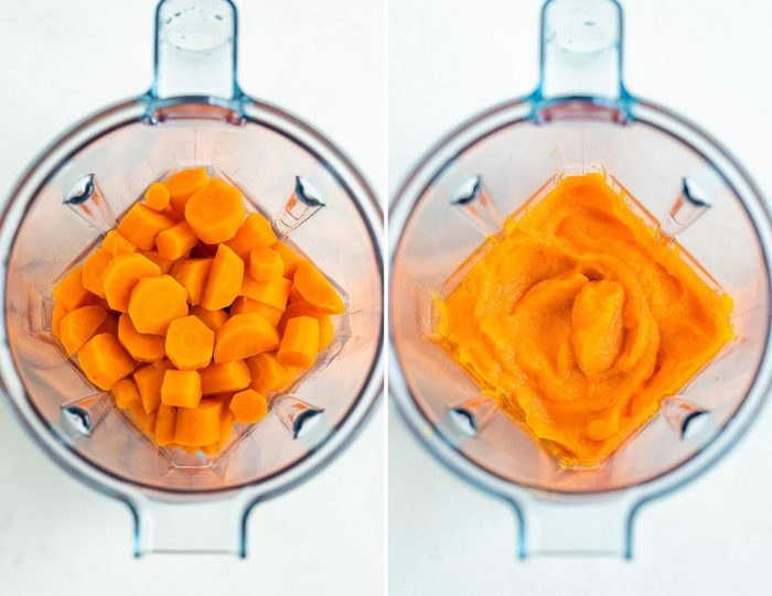 Two blenders, one with cooked carrots and water, the other with blended carrot puree