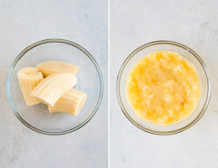 Two side by side photos. The first is of banana chunks in a bowl. The second is of mashed banana in a bowl.